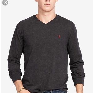 Polo Ralph Lauren Gray V Neck Long Sleeve Shirt